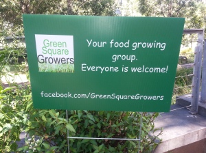 Green Square Growers group sign on Joynton Park, Zetland edible garden patch