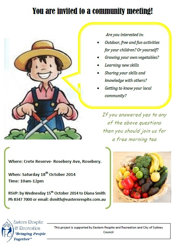 Flyer - Invitation to attend morning tea to hear about Rosebery's new community garden